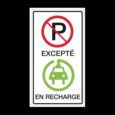 Affiche de stationnement: Véhicule électrique en recharge seulement